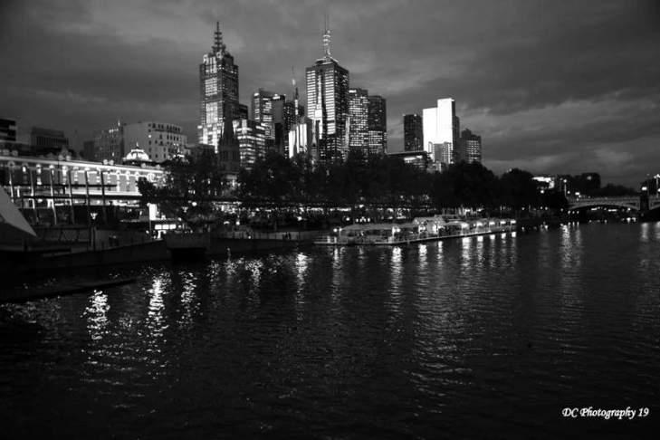 Melbourne skyline-BW